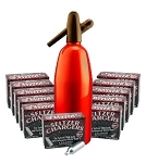 ALUMINUM SELTZER BOTTLE - Red 1 Liter + 10 additional Boxes of Chargers