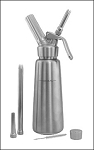 Silver Brushed Metal Body, Chrome head, 1.0 liter (Quart) Capacity Whipper
